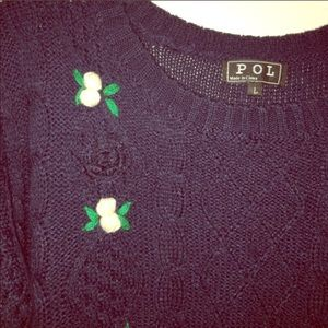 """Florist Things First"" cable knit sweater 
